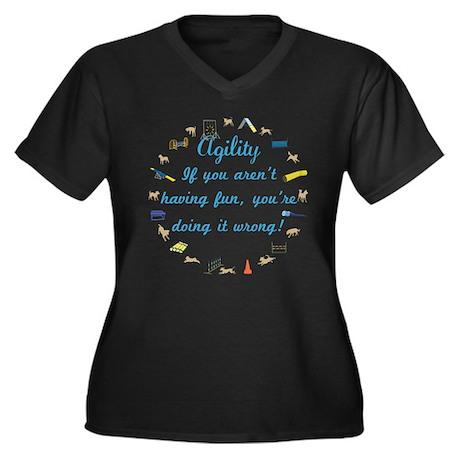 Agility Fun Women's Plus Size V-Neck Dark T-Shirt