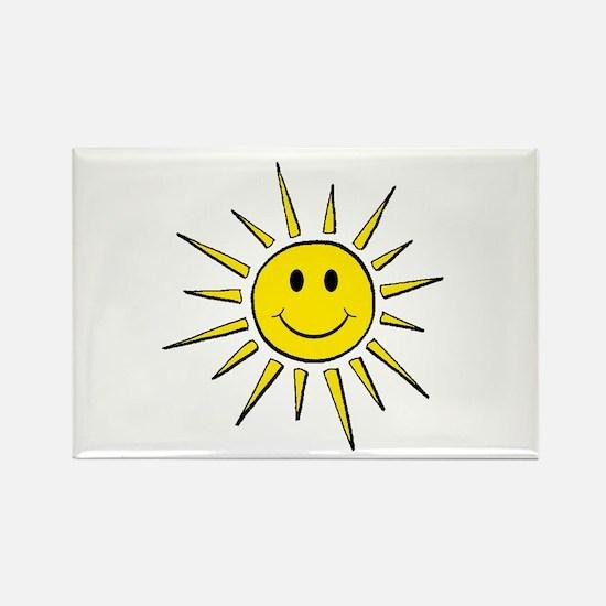 Smile Face Sun Rectangle Magnet