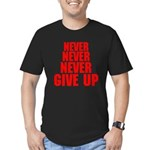 NEVER GIVE UP Men's Fitted T-Shirt (dark)