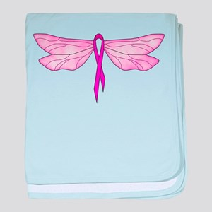 Breast Cancer Dragonfly baby blanket