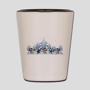snowman deer chirstmas Shot Glass