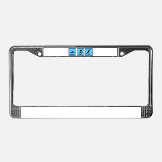 Swim Bike Run License Plate Frame