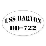 USS BARTON Sticker (Oval)