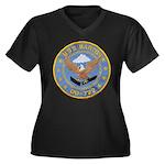 USS BARTON Women's Plus Size V-Neck Dark T-Shirt
