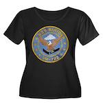 USS BARTON Women's Plus Size Scoop Neck Dark T-Shi
