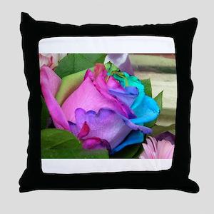Throw Pillow - Unique Multi-Colored Rose
