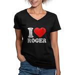 I (Heart) Roger Women's V-Neck Dark T-Shirt