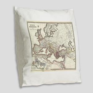 Vintage Map of The Roman Empir Burlap Throw Pillow
