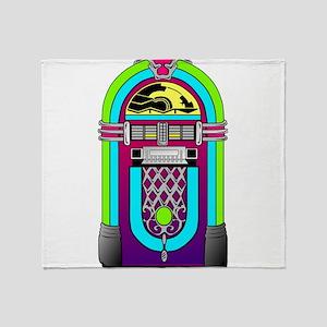Vintage Rainbow Jukebox Throw Blanket