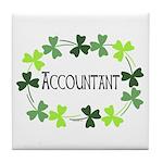 Accountant Shamrock Oval Tile Coaster
