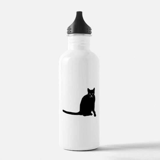 Sitting Black Cat Water Bottle