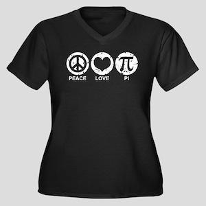 Peace Love Pi Women's Plus Size V-Neck Dark T-Shir