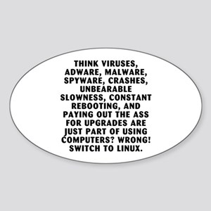 Think viruses... Sticker (Oval)