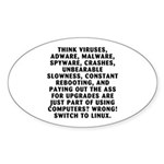 Think viruses... Sticker (Oval 50 pk)