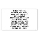 Think viruses... Sticker (Rectangle 50 pk)