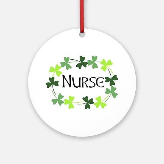 Nurse Shamrock Oval Ornament (Round)