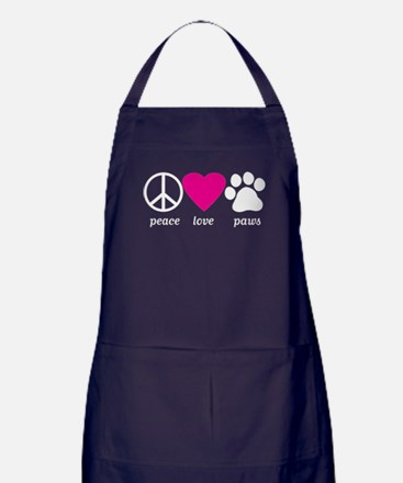 Peace Love Paws Apron (dark)