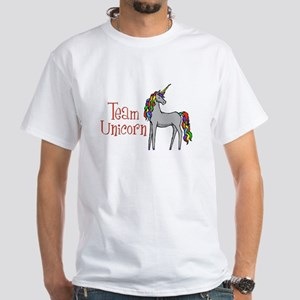 Team Unicorn Rainbow White T-Shirt