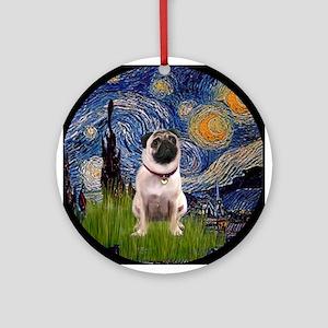 Starry Night Pug Ornament (Round)