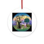 Saint Francis Whippet Ornament (Round)