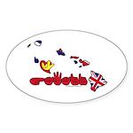ILY Hawaii Sticker (Oval 50 pk)