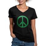 Green Peace Sign Women's V-Neck Dark T-Shirt