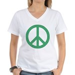 Green Peace Sign Women's V-Neck T-Shirt