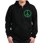 Green Peace Sign Zip Hoodie (dark)