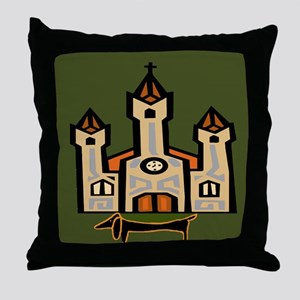 Dachshund At Cathedral Throw Pillow