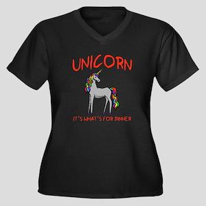 Unicorn It's What's For Dinner Women's Plus Size V