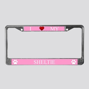 Pink I Love My Sheltie Frame