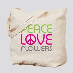 Peace Love Flowers Tote Bag