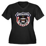 USS BASILONE Women's Plus Size V-Neck Dark T-Shirt