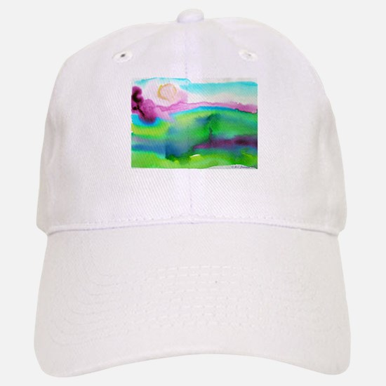 Landscape, Bright, watercolor Baseball Baseball Cap