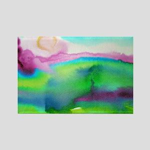 Landscape, Bright, watercolor Rectangle Magnet