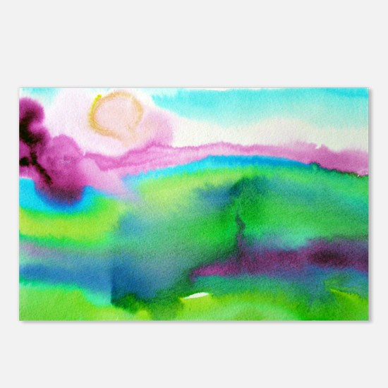 Landscape, Bright, watercolor Postcards (Package o