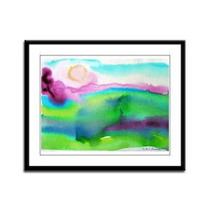Landscape, Bright, watercolor Framed Panel Print
