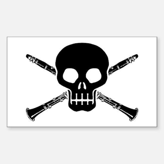 Clarinet Skull Sticker (Rectangle)