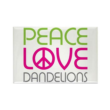 Peace Love Dandelions Rectangle Magnet (100 pack)