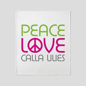 Peace Love Calla Lilies Throw Blanket