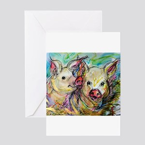 Pig, Couple, Cute, Greeting Card