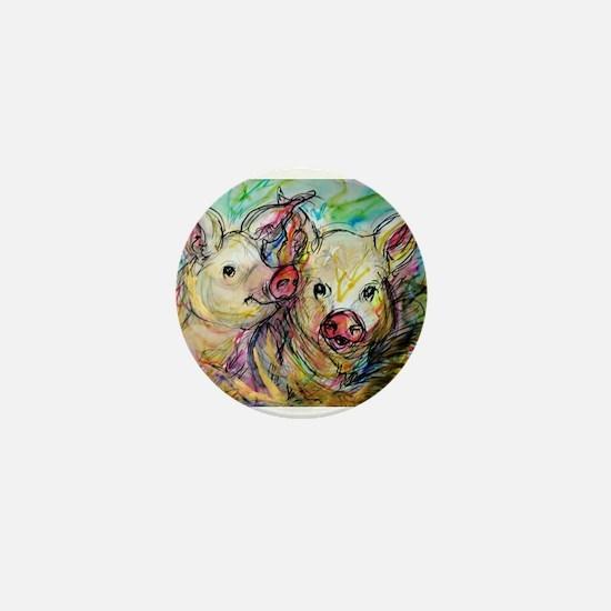 Pig, Couple, Cute, Mini Button