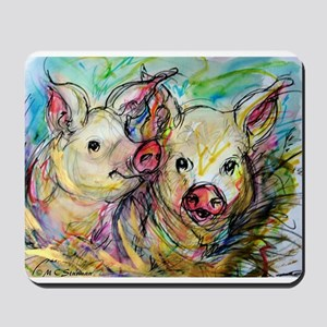 Pig, Couple, Cute, Mousepad