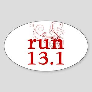 run 13.1 Sticker (Oval)