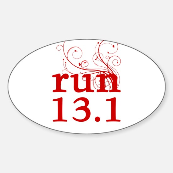 run 13.1 Sticker (Oval)