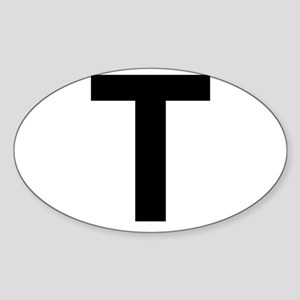 T Helvetica Alphabet Sticker (Oval)