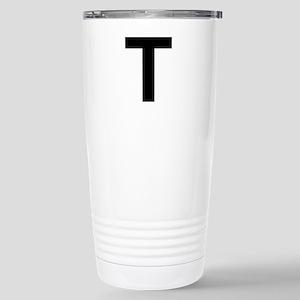 T Helvetica Alphabet Stainless Steel Travel Mug
