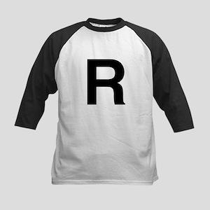 R Helvetica Alphabet Kids Baseball Jersey