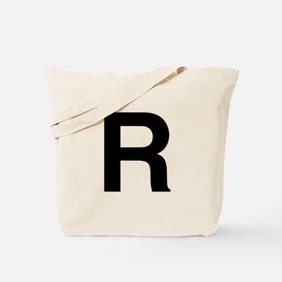 R Helvetica Alphabet Tote Bag