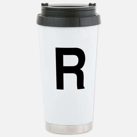 R Helvetica Alphabet Stainless Steel Travel Mug